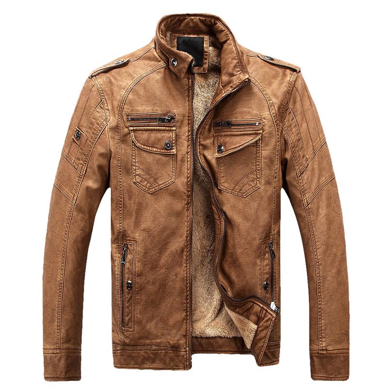 wholesale Warm Stand Collar Coat Thick Wool Men Leather Jacket Motobiker Boy Leather Jacket Comfortable Jaquetas Plus Size 3XL