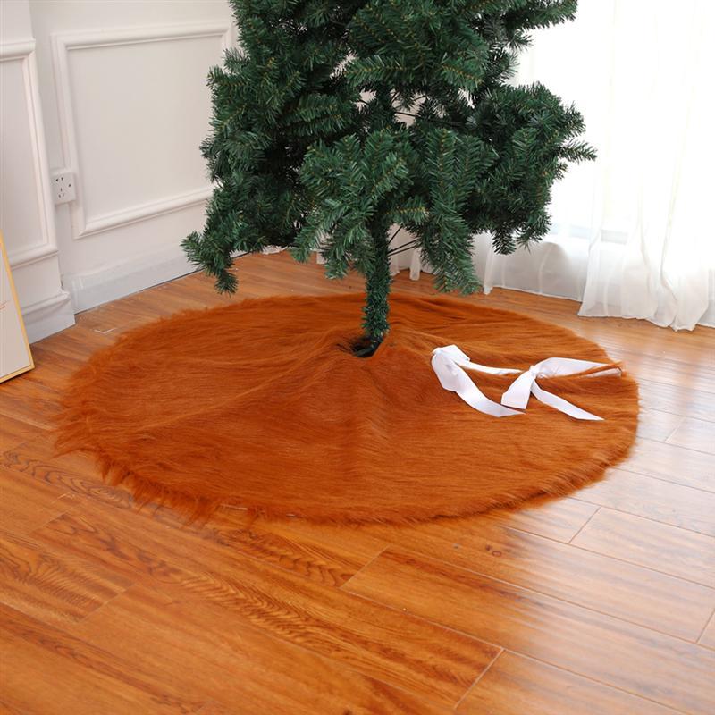 122 CM Kreative Weihnachtsbaum Rock Plüsch Braun Stoff Matten Baum Rock Für Baum Dekorieren Party Weihnachten