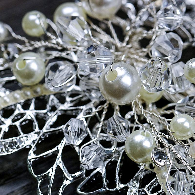 Handmade Silver Barrettes Wedding Hair Accessories Pearl Head Clip Rhinestone Hair Ornament Leaves Crystal Style Hair Decoration (3)