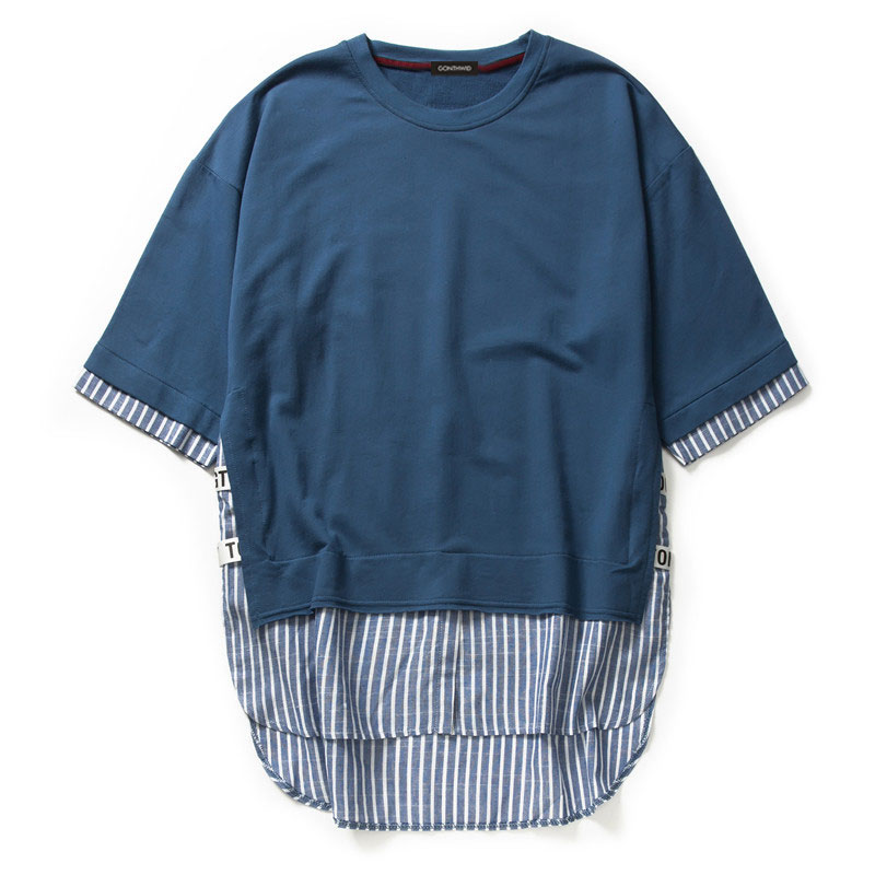 Striped Patchwork Curved Hem Extended T Shirts 5