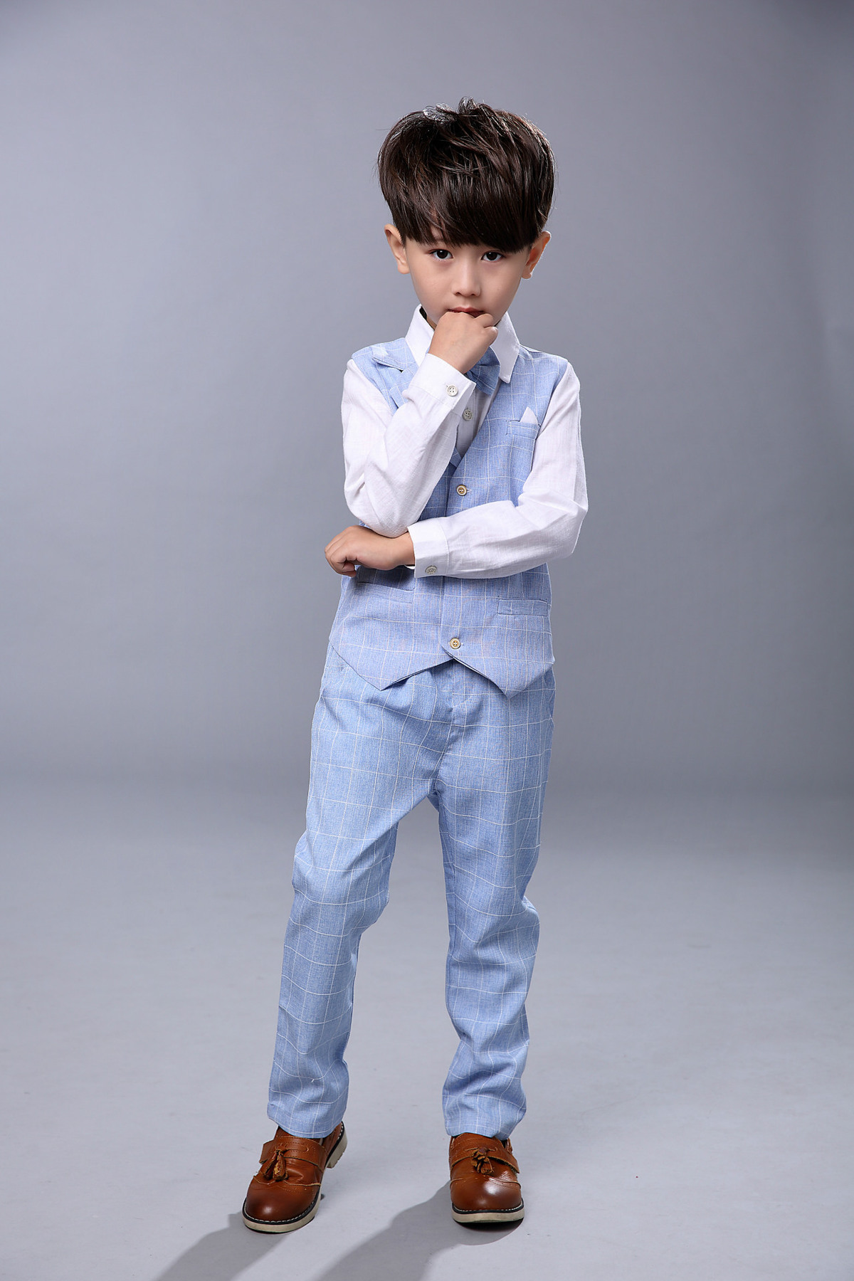 Kids sets for Boys Formal Suits Birthday Wedding Party Dress Shirt Gentleman Waistcoat Vest Pants Korean Style Children Clothes Y1893005
