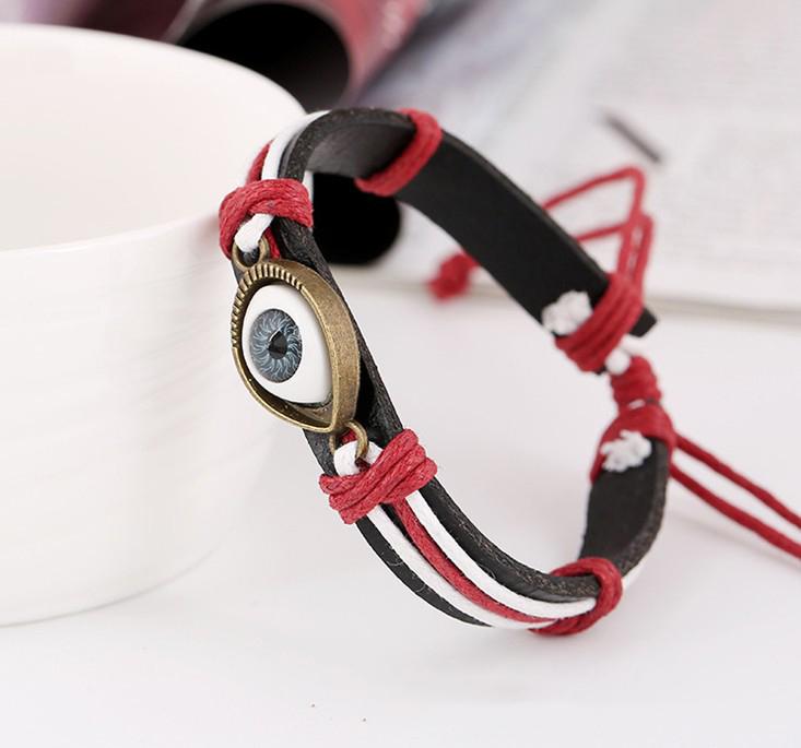 Vintage Evil Eye Bracelet Multi Layer Genuine Cowhide Leather Charm Bracelet Cuff Wristband Bead Turkish Jewelry Cuff Braclet
