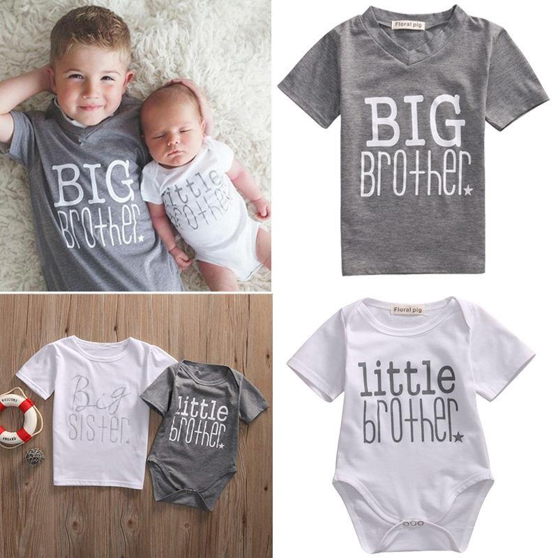 Girl Baby Cotton Clothes Little Big Sister Floral T-shirt Jumpsuit Romper Sanw