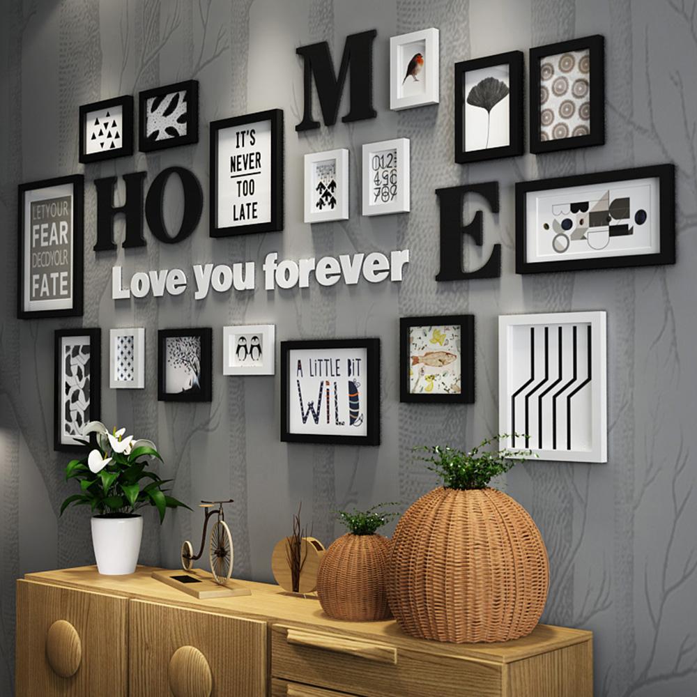 Deco Cadre Photo Mur 17pcs bois massif grandes cadres modernes salon / magasin cadre photo  grande taille lettre en bois maison décoration murale bricolage