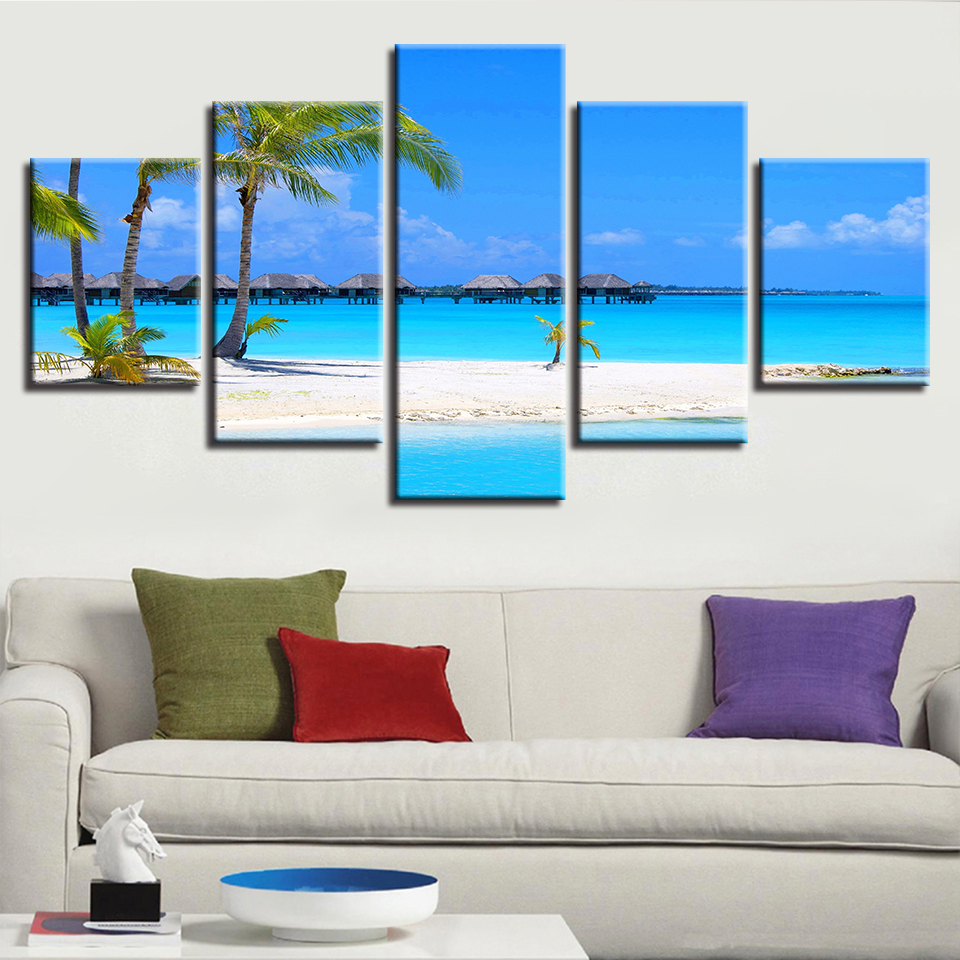 Canvas Wall Art Abstract Prints Painting Decor Sunny Beach Palm Tree Landscape