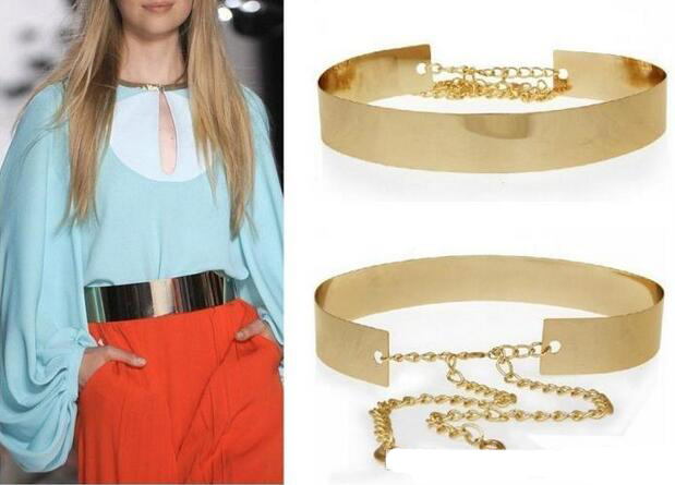 2018 Hot sales new Fashion Women Full Gold/Silver Metal Mirror Waist Belt Metallic Gold Plate Wide Obi Band With Chains