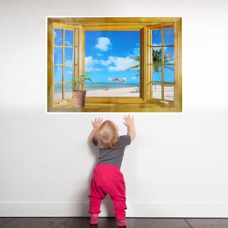 Wallsticker 3D Effect Windows Seascape Landscape Wall Stickers Fashion Home Decors Wall Papers Kid Room Decoration