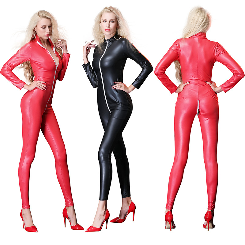 Damen Wetlook Reißverschluss Ärmellos Catsuit Body Stretch Kunstleder Overall
