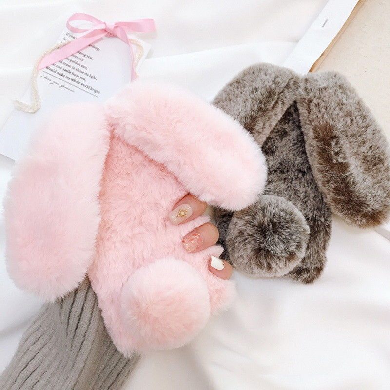 Cute 3D Fluffy Plush Rabbit Doll Soft Hairy Warm Furry Bunny Back Case For iPhone X 8 Plus 6 6S 7 Plus Girls Bling Diamond Case