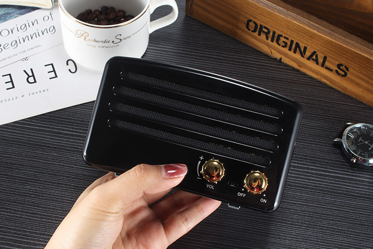 4styles Bluetooth Speaker vintage mini Classic Style Bluetooth Rich Bass Radio Loud Stereo Sound System Portable Wireless Speaker FFA1030