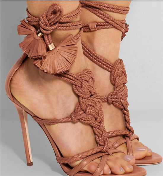 Charming Purple Rope Braid Knot Strappy Leaf Lace Up Sandals High Heels Cross Tied Gladiator Sandals Women Shoes Woman Sandalias (4)