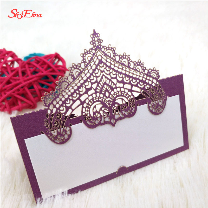 Laser Cut Crown Table Name Card Place Card Wedding Party Decoration Favor for Baby Shower Birthday Party 5ZSH935