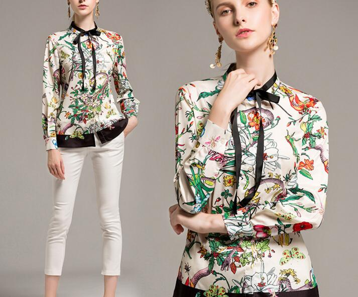 Occident Fashion Womens Floral Print Chiffon Tops Shirt Bow Tie Casual OL Blouse