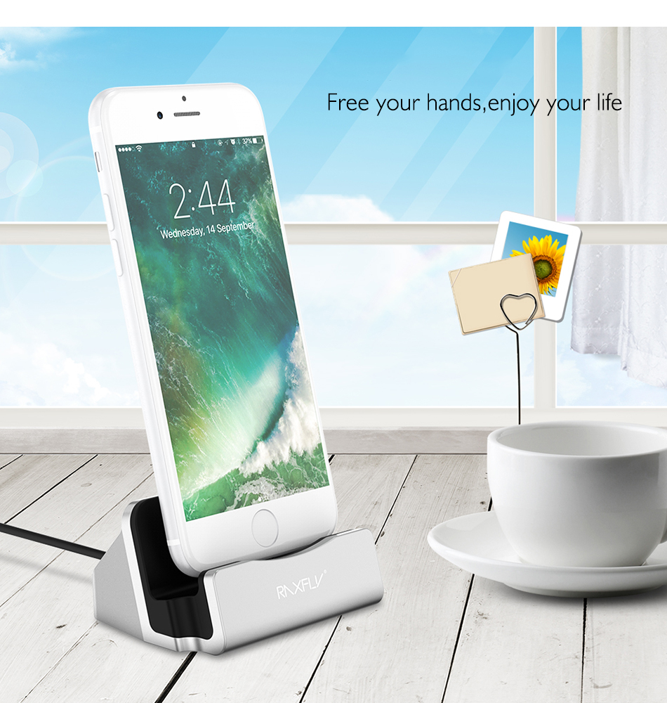 RAXFLY Desktop Charging Stand Holder Base For iPhone 7 6S 6 Plus 5 5S SE Charger Dock Holder Stand Station For iPad Mini 4 3 Air (7)
