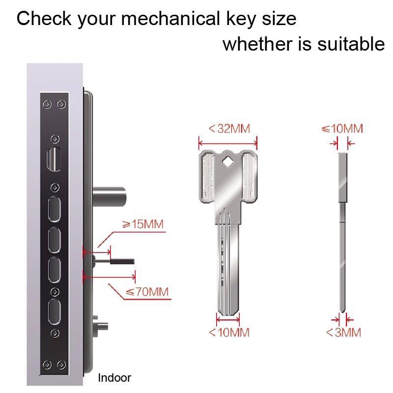 Sherlock S2 Electric Lock Fingerprint+Password Smart Door Lock Add Key For Office Glass Door Wireless APP Bluetooth Control