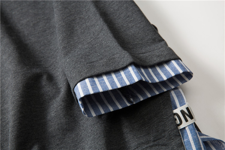 Striped Patchwork Curved Hem Extended T Shirts 12