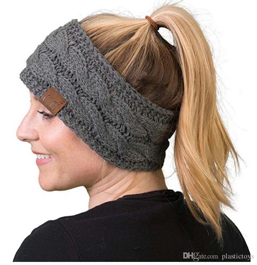 Moda bayan şapka Boş üst yün şapka noktası iplik 7 renkler örgü iğne saç etiketi at kuyruğu kap seçebilirsiniz
