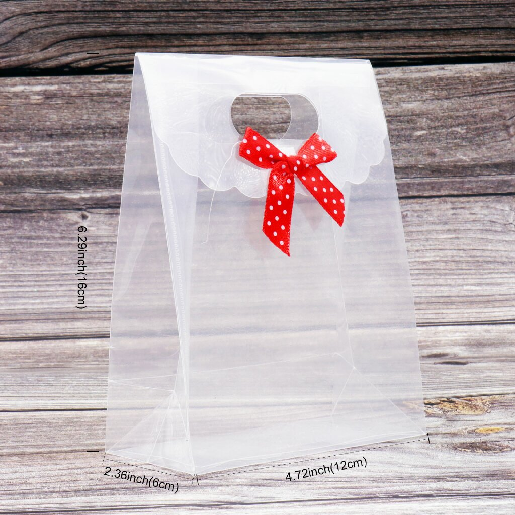 16x12x6cm Wedding Transparent Cube Favour Boxes Sweet Candy Cake Gift Bags Chocolate Boxes Gift Bags with Handles
