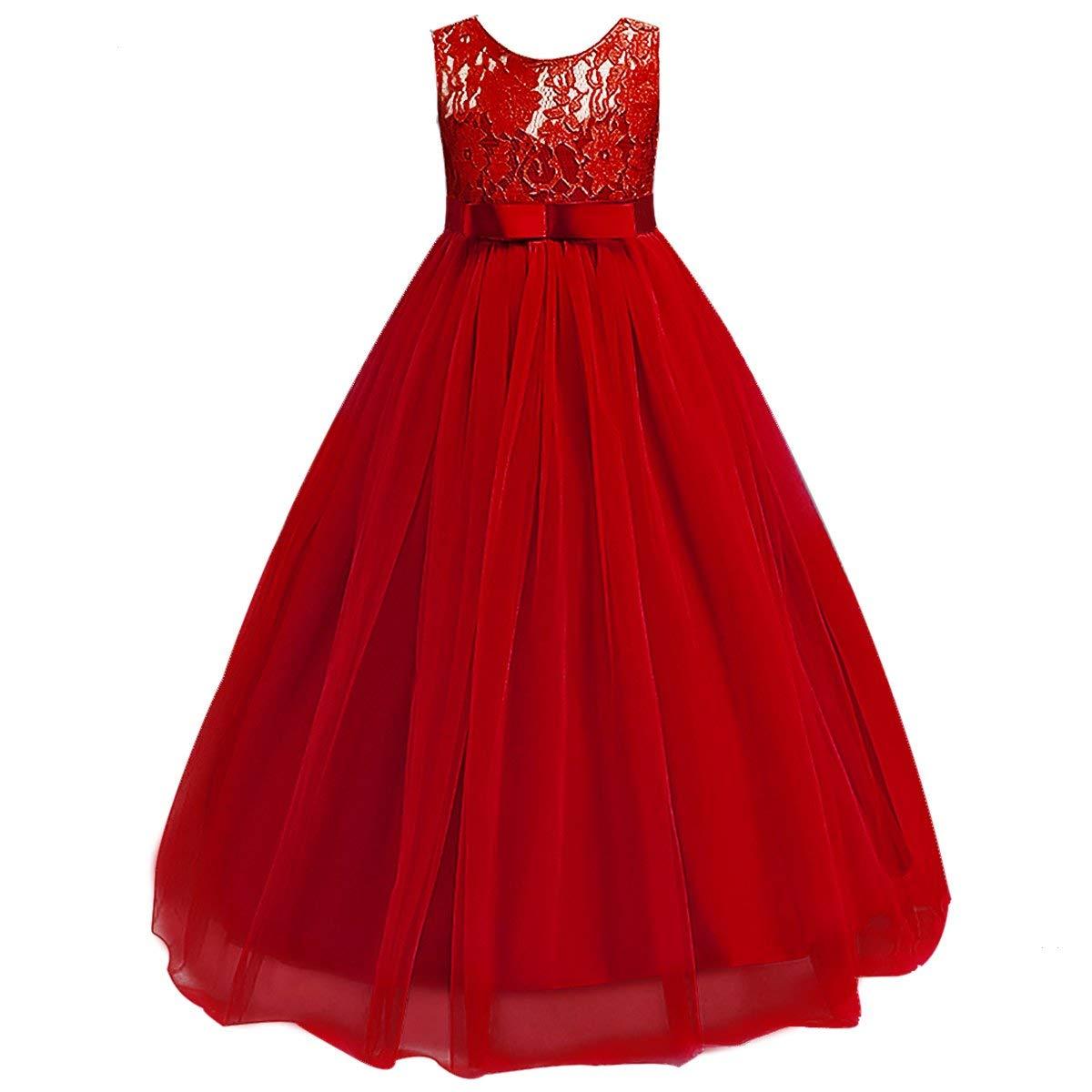 Big Girl Vintage Lace Junior vestido de dama de honor Dance Ball desfile Maxi Gown Floor Long para fiesta de boda