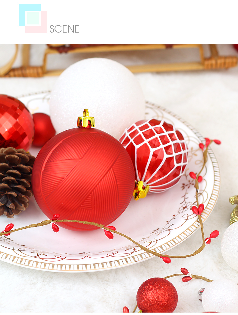 05 inhoo Christmas Tree Decoration Balls Ornaments Pendant Accessories 50pcs Red and white ball Decor For Christmas Home Party 2019