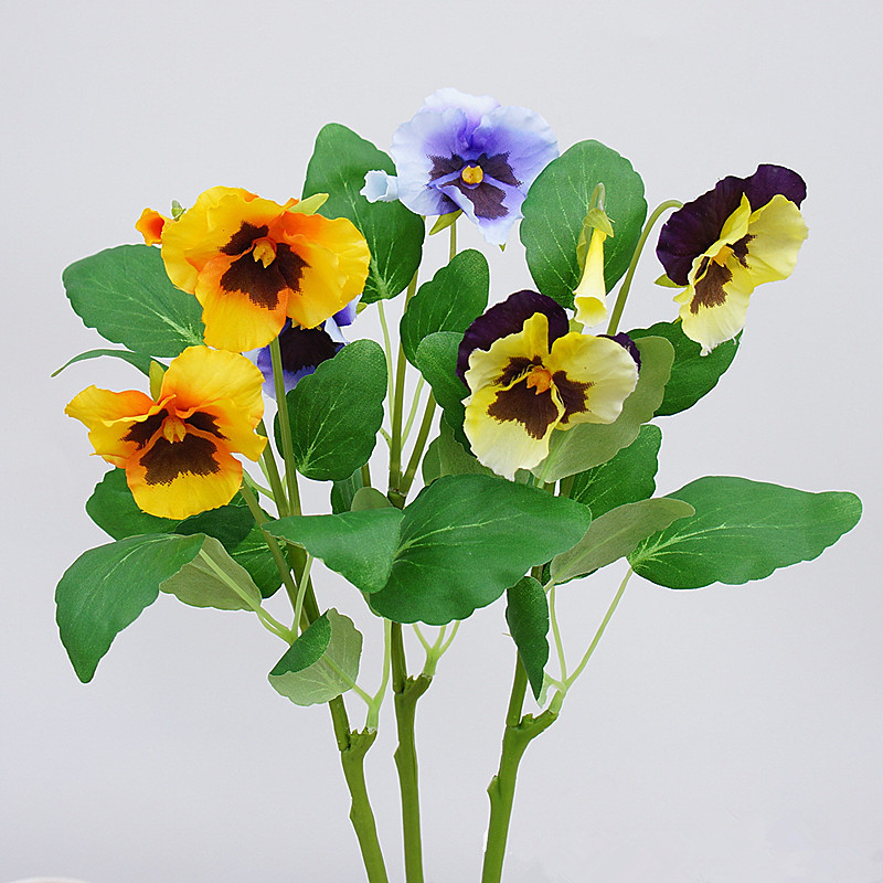 JAROWN Artificial Pansy Silk Flowers Moth Phalaenopsis Orchid Arrangement for Home Office Wedding Decoration (5)