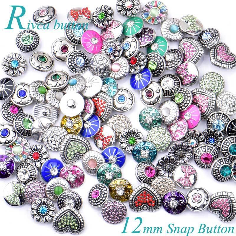 12MM Rivca Snaps Bouton Bijoux Strass Perles Lâches Mixte Style Fit Pour Noosa Bracelets En Cuir Collier Bijoux DIY Accessoires