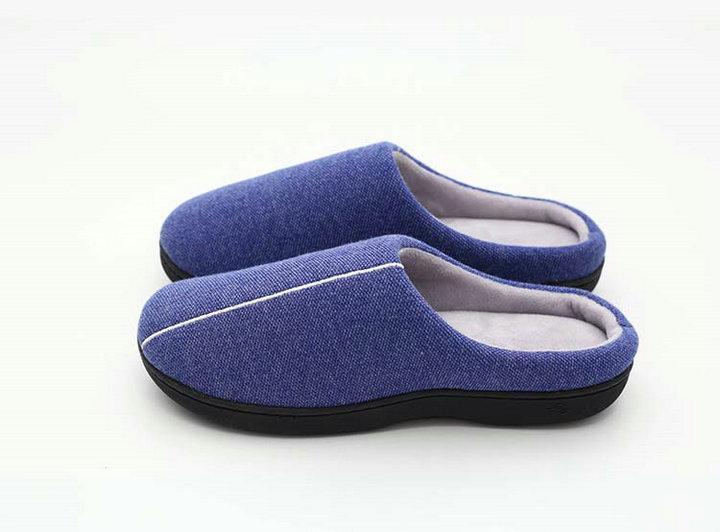 High Quality Velvet With Soft Fleece Outside Comfortable Soft Sole Men Memory Foam Home Slipper Men Shoes (4)
