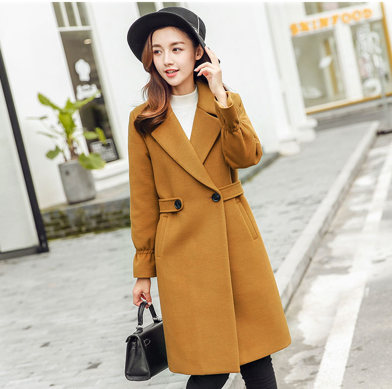 2018 New Winter Fashion Long Slim Coat Long Sleeve Women Solid Color Overcoat with Sashes Woolen Coat L18100706