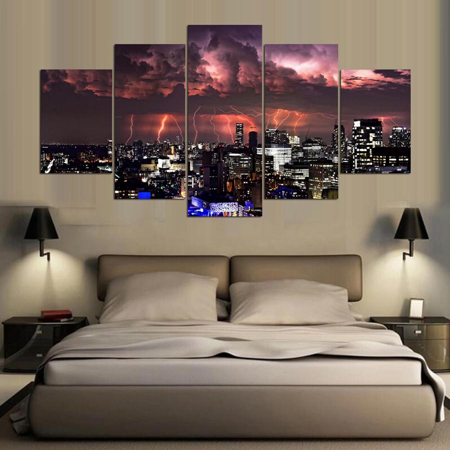 Abstract Canvas Painting Wall Art Print Vintage Poster 5 Panel City At Night Style Pictures For Living Room Modern Decoration
