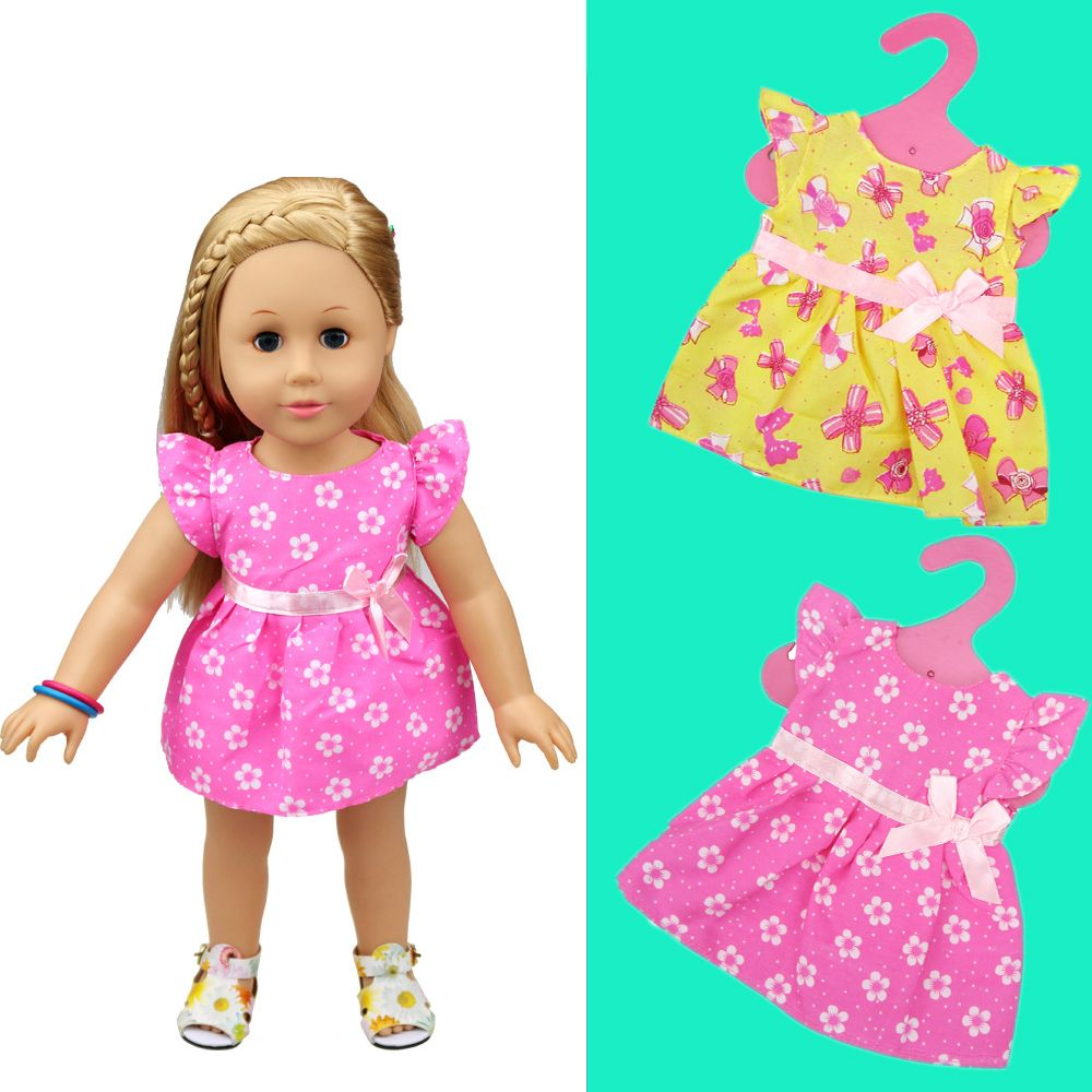 Pink Flower Skirt Dress Party Miniskirt Fit For 18/'/' American Girl Doll Clothes