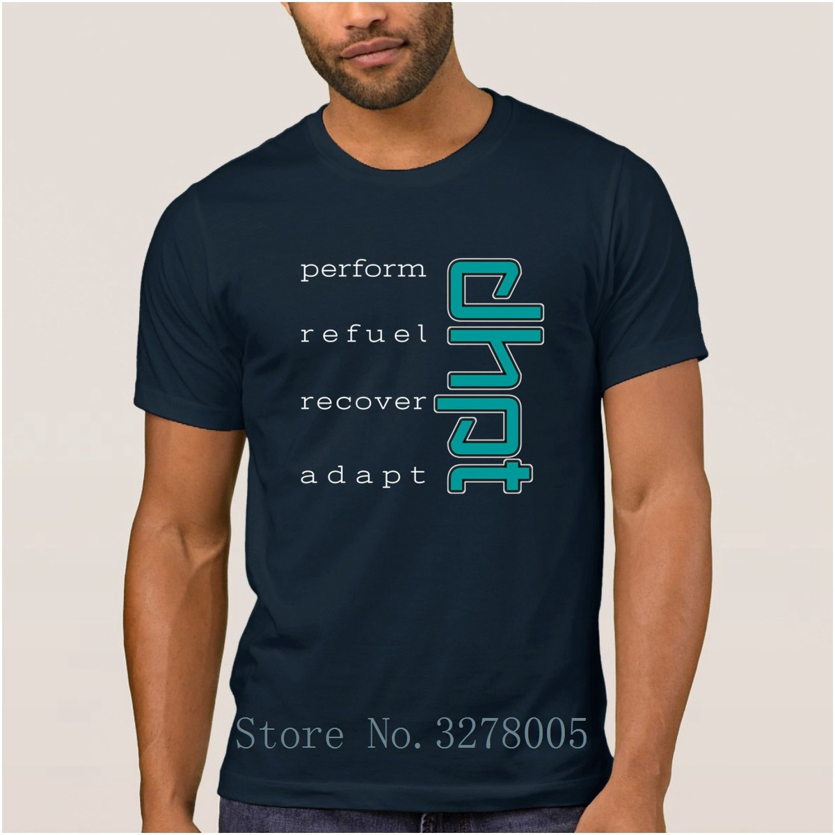 Blue Dhpt Perform Refuel Recover Adapt Design Fun Men T Shirt Outfit Summer Style T-Shirt Man Clothes Round Collar Tshirt Large