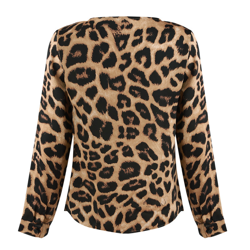 Ursohot Leopard print Sexy Blouse Shirts Women 2018 Autumn Long Sleeve V Neck OL Blouses Streetwear Brief Blusa Tops Female D18103102
