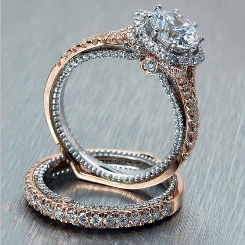 18K plaqué or en acier inoxydable Femmes Zircone cubique De mariage bande Cocktail Ring