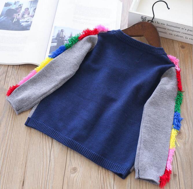 Girl kids clothing cardigan sweaer round collar unicorn design long sleeve with rainbow tassel knitted sweater girl cardigan sweater
