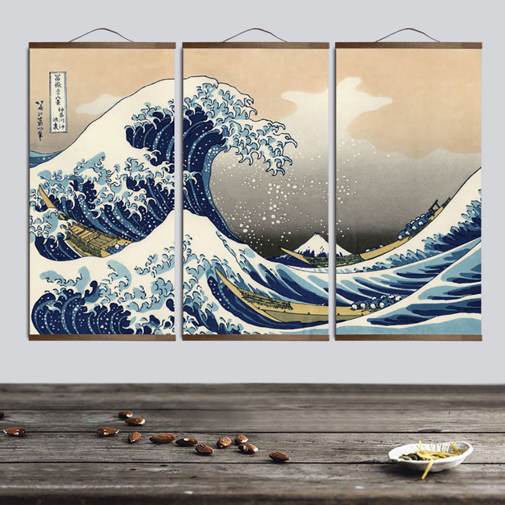 Vintage Japanese Art Seascape Picture Retro Style Metal Plaque Sign