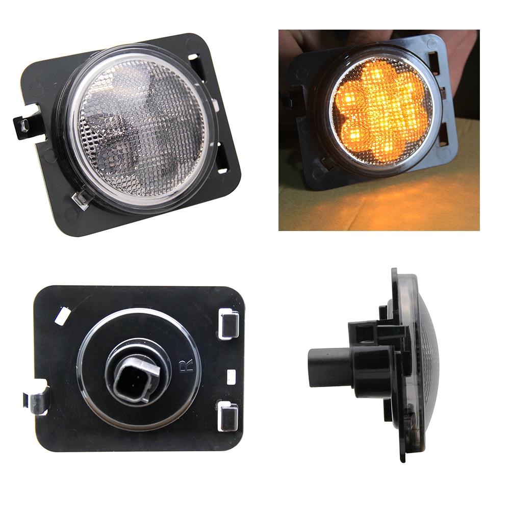LEDs Light Amber Front Fender LED Side Light Parking Turn Lamp For Jeep Wrangler 07-16 4X4 Off Road 12V 24V