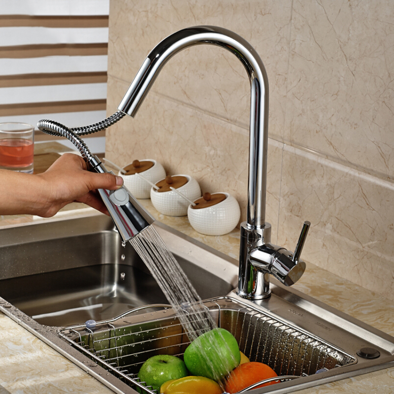 Chrome-Finish-Pull-Out-Sprayer-Head-Kitchen-Sink-Faucet-Single-Handle-Mixer-Taps-Kitchen-Faucet-Taps
