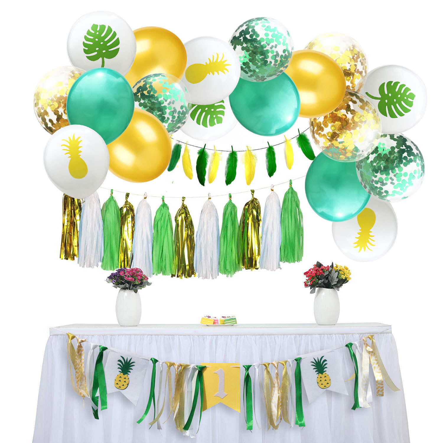 Hawaiian Party Decorations Non Woven Pineapple Turtle Banner Balloon Set For 1st Birthday Party Decorated With Sequin Balloons Annual Balloon Festival