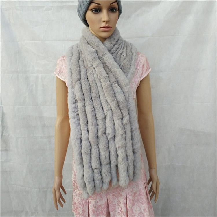 knitted rex rabbit fur scarf for women winter (12)