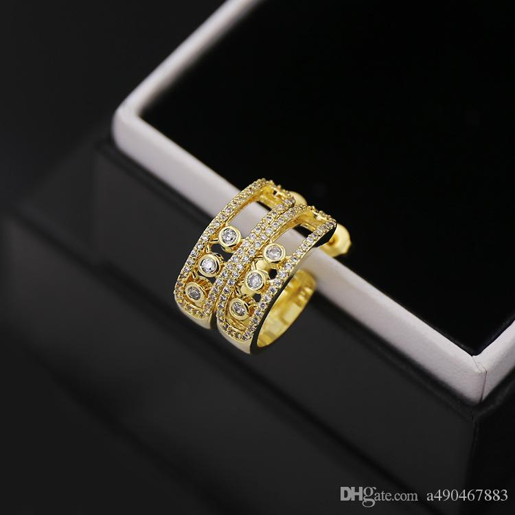 titanium Steel 18K gold plated gem stud earring love exquisite micro C type three grains women Earrings fashion jewelry
