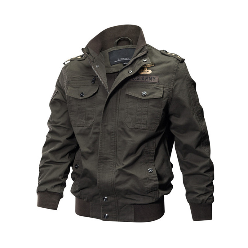 MORUANCLE Mens Casual Cargo Jackets Military Style Flight Bomber Jacket And Coat For Man Outerwear Plus Size M-5XL Stand Collar S18101802