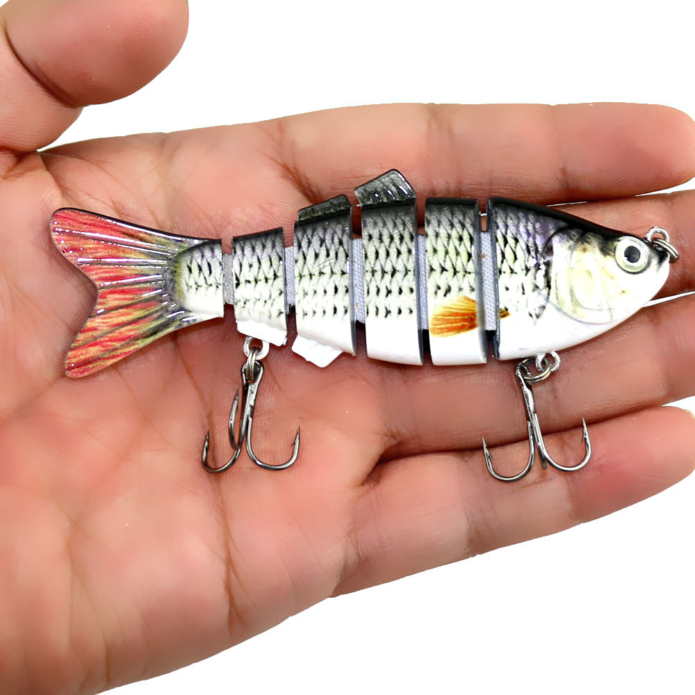 YOUGLE Fishing Lure 6 Segment Lifelike Trouts Swimbait Multi Jointed Artificial Bait Crankbait Hard Bait Tackle with Treble Hook Y18100906
