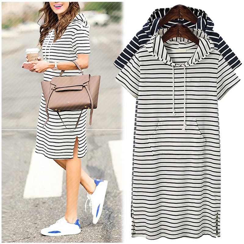 Plus Size 5XL 2018 Women Hoodies Shirt Dress Summer Short Sleeve Black and White Striped Blouse Dresses Casual Work Office
