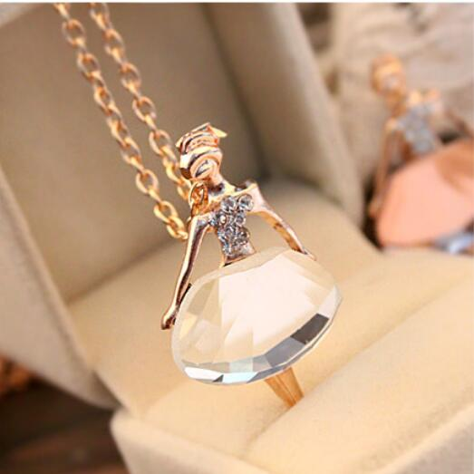 Chic Lovely Girls Ballet Dancer Pendant Crystal Long Chain Sweater Necklace
