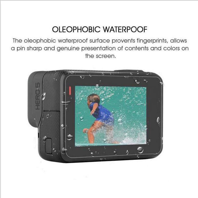 Glorystar temperado capa protetora case para gopro go pro hero5 hero6 hero5 6 preto lente da câmera tela lcd filme protetor claro