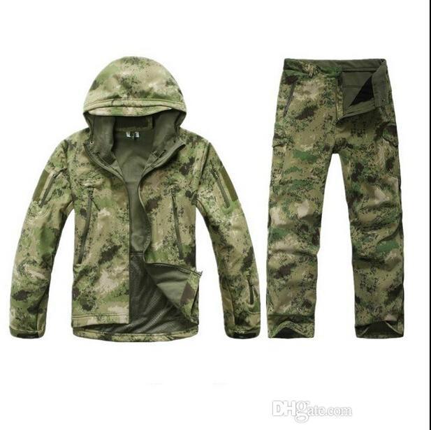Atacado-TAD Stalker pele de tubarão camuflagem casacos de caça pesca impermeável SoftShell conjunto de jaqueta ao ar livre Esporte do exército roupas S6