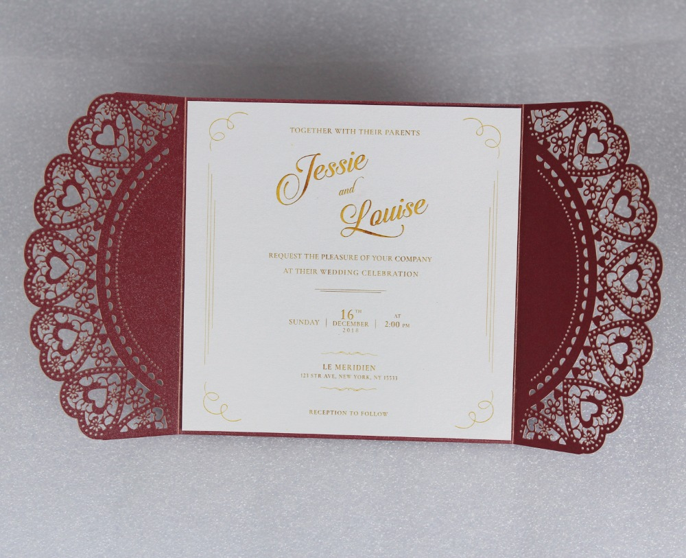 Gold Printing Wedding Invitation Cards