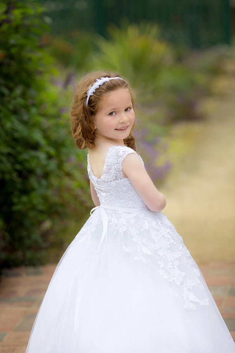 Ivory Flower Girl Dress For Wedding Lace Elegant Formal Party Birthday Holiday Girls Dress Pattern Toddler xk63