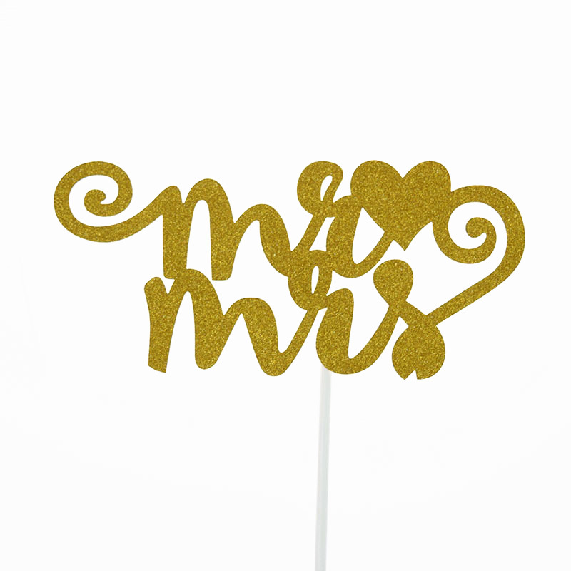 Cake Toppers Flags MR MRS Love Glitter Kids Birthday Cupcake Topper Wedding Bride Baby Shower Party Baking DIY Decor