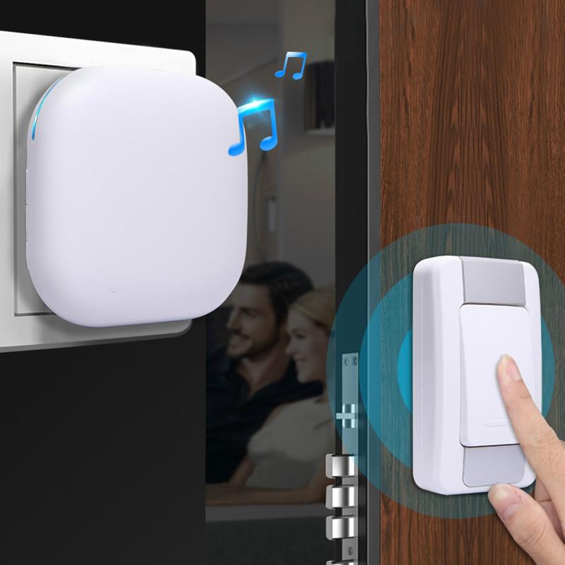 Kit de timbre inalámbrico 1 Plugin Receptor Indicador LED 1 Botón pulsador a prueba de agua con operación 300M en área abierta 36 Timbre